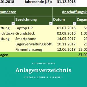 Automatisiertes Anlagenverzeichnis mit Excel